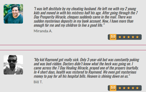 7 Day Prayer Miracle testimonial